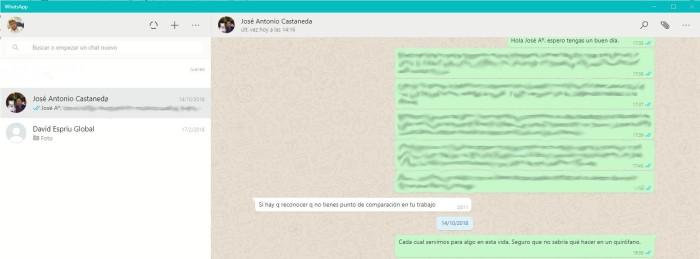 captura whatsapp con Castañeda y su opinión sobre mi trabajo